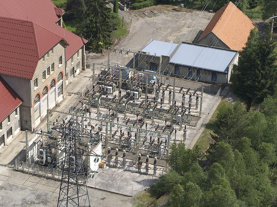 Vue aérienne poste électrique HTB Le Verney